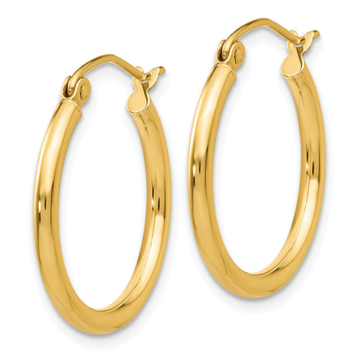 14k yellow gold tube hoop earrings measuring 2mm thick and 20mm wide. Side