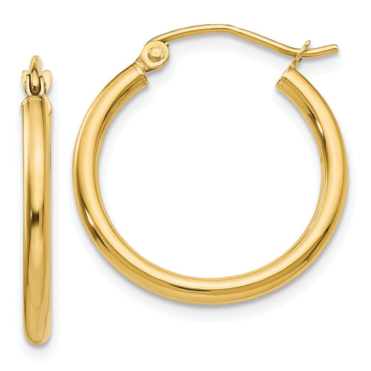 14k yellow gold tube hoop earrings measuring 2mm thick and 20mm wide. Front