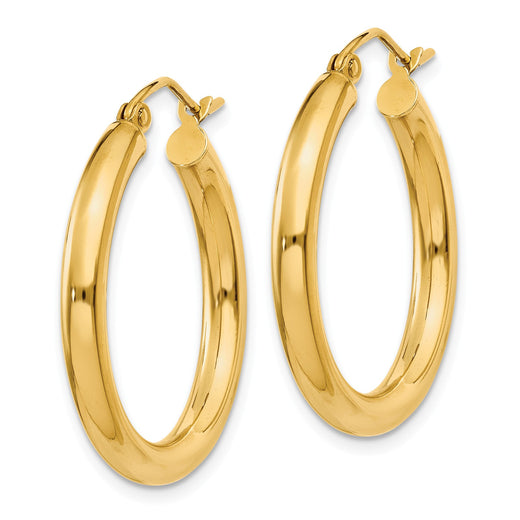 14k yellow gold 3mm tube hoop earrings. Side