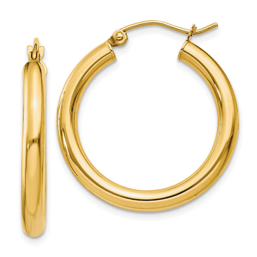 14k yellow gold 3mm tube hoop earrings. Front