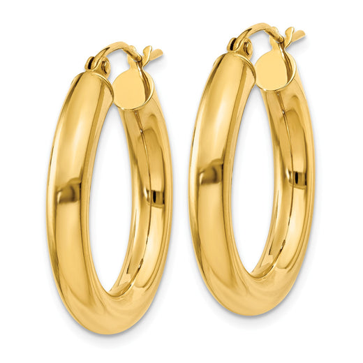 14k yellow gold 4mm tube hoop earrings. Side