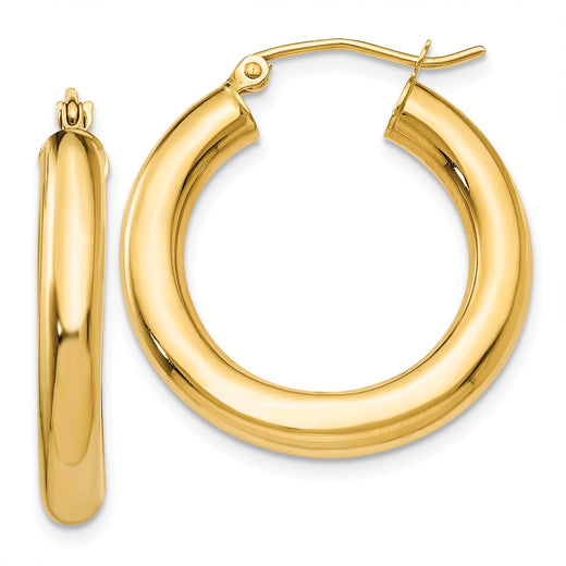 14k yellow gold 4mm tube hoop earrings. Front