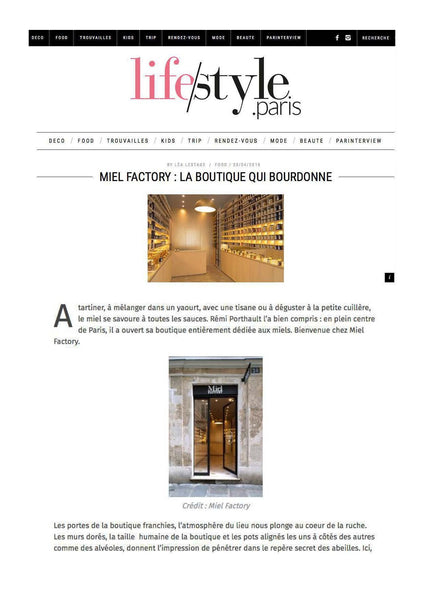 Miel Factory sur le site lifestyle.paris