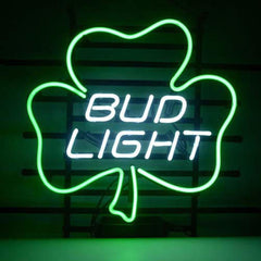 Professional  Bud Lucky Shamrock Beer Bar Open Neon Signs