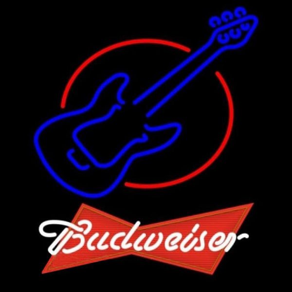 Budweiser Red Red Round Guitar Beer Sign Handmade Art Neon Sign