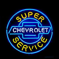 Professional  Chevrolet Super Service Shop Open Neon Sign