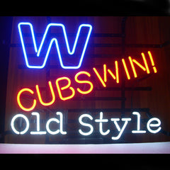 Professional  Chicago Cubs Win W Old Style Beer Real Neon Sign Free 2