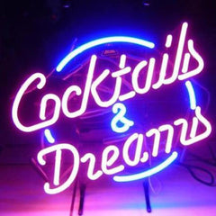 Professional  Cocktails And  Dreams Beer Bar Open Neon Signs