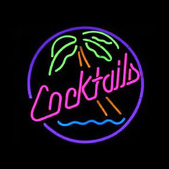 Professional  Cocktails Beer Bar Open Neon Signs
