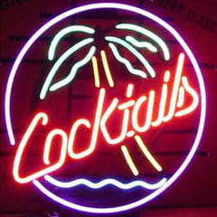 Professional  Cocktails Palm Tree Beer Bar Open Neon Signs