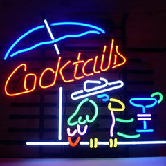 Professional  Cocktail Parrot Cocktails Real Neon Glass Beer Bar Pub Sign
