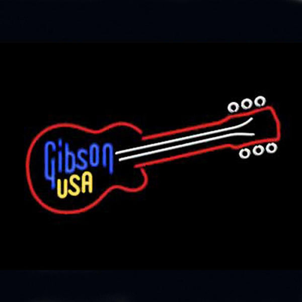 Professional  Gibson Usa Guitar Beer Bar Open Neon Signs