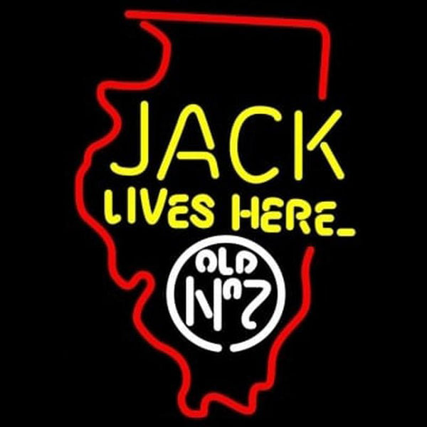 Jack Daniels Jack Lives Here Illinois Whiskey Handmade Art Neon Sign