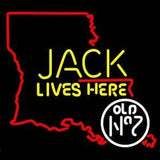 Jack Daniels Jack Lives Here Louisiana Whiskey Handmade Art Neon Sign