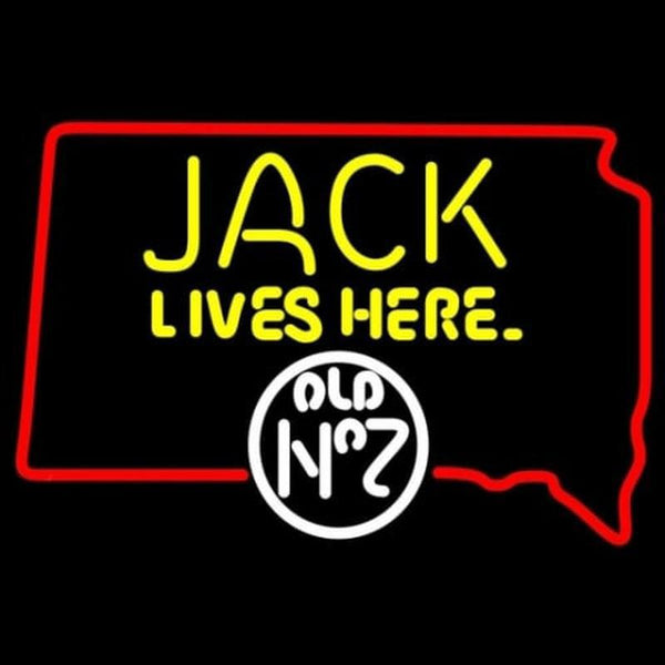 Jack Daniels Jack Lives Here South Dakota Whiskey Handmade Art Neon Sign