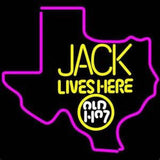 Jack Daniels Jack Lives Here Texas Whiskey Handmade Art Neon Sign