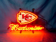 Kansas City Chiefs Football Budweiser Beer Neon Light Sign