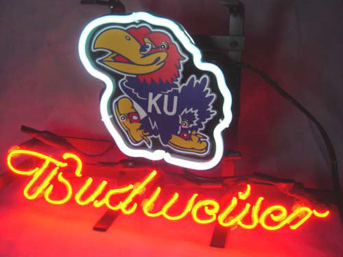 Kansas Ku Jayhawks Budweiser Beer Neon Light Sign