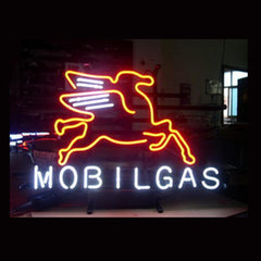 Professional  Mobilgas Oil Shop Open Neon Sign