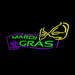 Mardi Grass Logo Handmade Art Neon Sign
