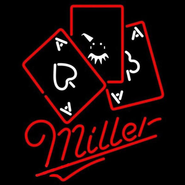 Miller Ace And Poker Beer Sign Handmade Art Neon Sign