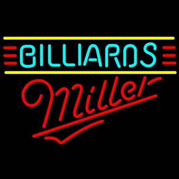 Miller Billiards Text Borders Pool Beer Sign Handmade Art Neon Sign