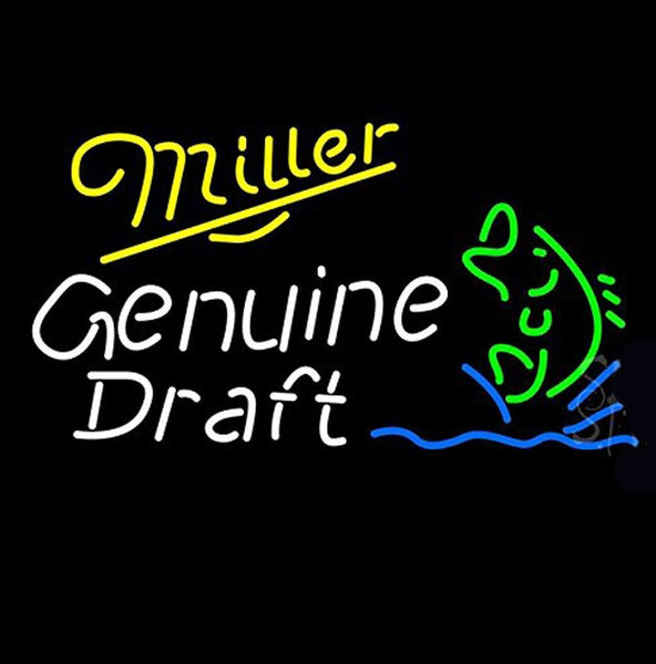 Miller Genuine Draft Blinking Fish Outdoor Neon Sign