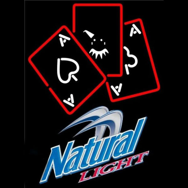 Natural Light Ace And Poker Beer Sign Handmade Art Neon Sign