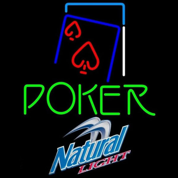 Natural Light Green Poker Red Heart Beer Sign Handmade Art Neon Sign