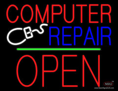 Computer Repair Block Open Green Line Neon Sign