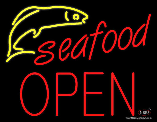 Seafood Logo Block Open Neon Sign
