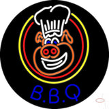 Blue BBQ Pig Logo Neon Sign