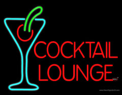 Cocktail Lounge With Martini Glass Real Neon Glass Tube Neon Sign