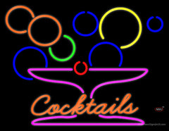 Cocktails With Martini Glass Real Neon Glass Tube Neon Sign