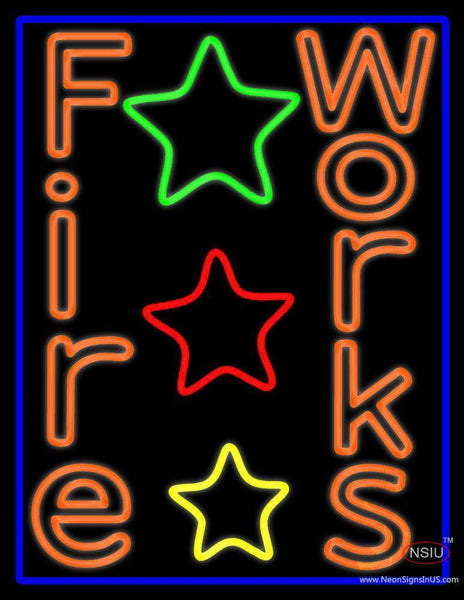 Double Stroke Fireworks Neon Sign