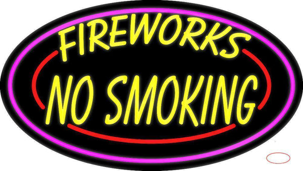 Double Stroke Fire Works No Smoking  Neon Sign