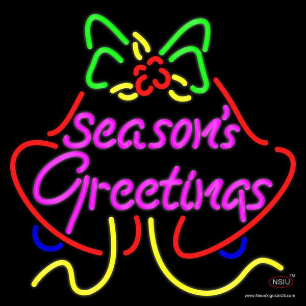 Seasons Greetings With Bell  Neon Sign