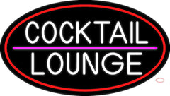 Cocktail Lounge Oval With Red Border Real Neon Glass Tube Neon Sign