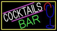 Cocktails Bar With Glass Real Neon Glass Tube Neon Sign