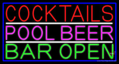 Cocktails Pool Beer Bar Open Real Neon Glass Tube Neon Sign