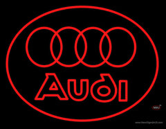 Audi Rings Logo Real Neon Glass Tube Neon Sign
