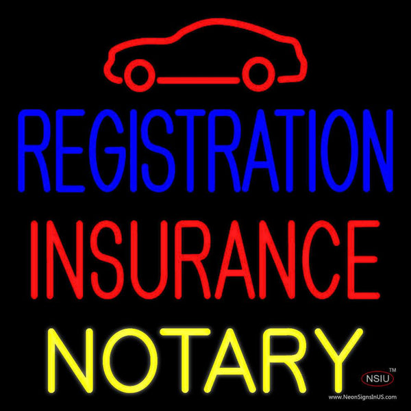 Registration Insurance Notary with Car Logo Neon Sign