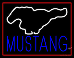 Ford Mustang Red Border Real Neon Glass Tube Neon Sign