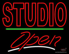 Double Stroke Red Studio With Open  Neon Sign