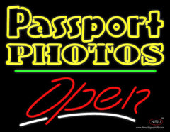 Passport Photos Block With Open  Neon Sign