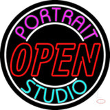 Portrait Studio Red Open Neon Sign