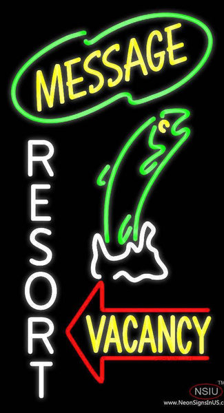 Custom Resort Vacancy With Fish Real Neon Glass Tube Neon Sign