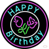 Happy Birthday With Flowers Real Neon Glass Tube Neon Sign