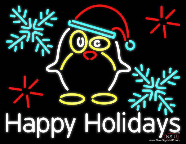 Happy Holidays With Snow Man Logo Real Neon Glass Tube Neon Sign