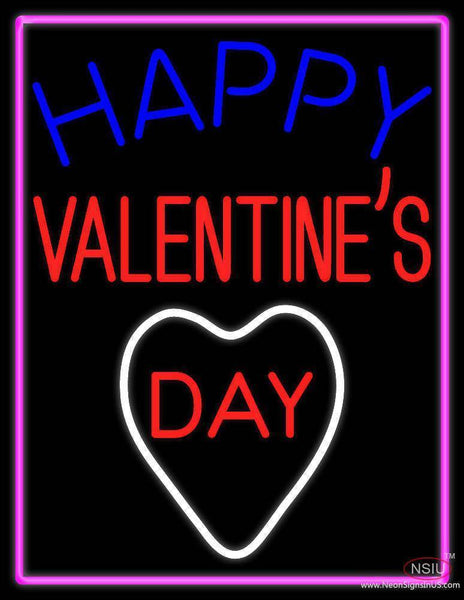 Happy Valentines Day With Pink Border Real Neon Glass Tube Neon Sign